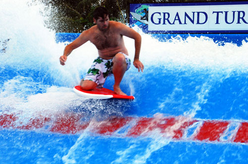 Kneeling on the flowrider